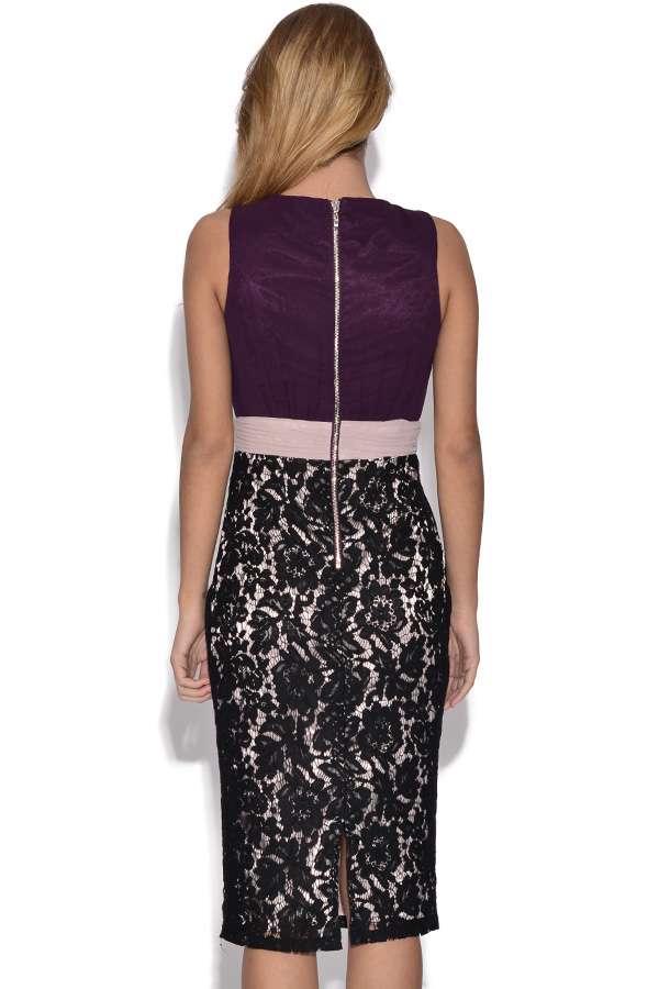 Little Mistress Purple Tone Chiffon and Lace Dress