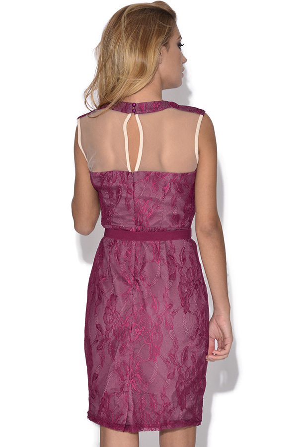 Little Mistress Lace Overlay Belted Mesh Dress