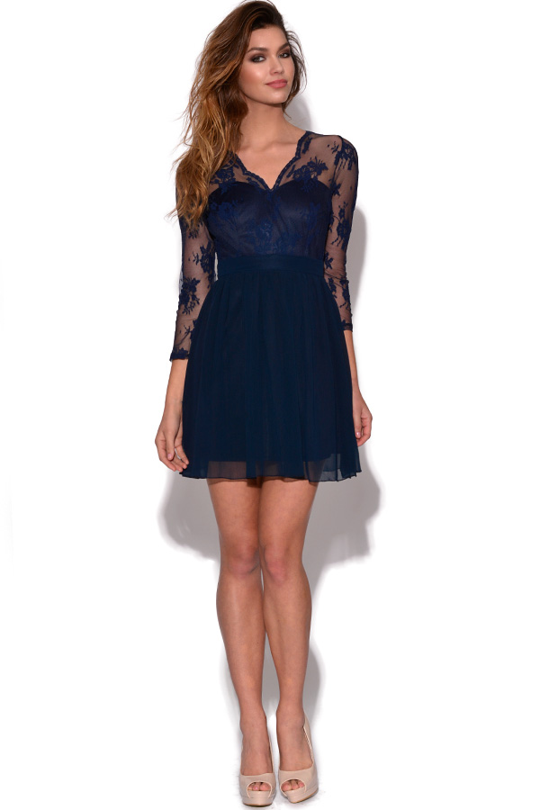 Long Sleeved Lace Skater Dress