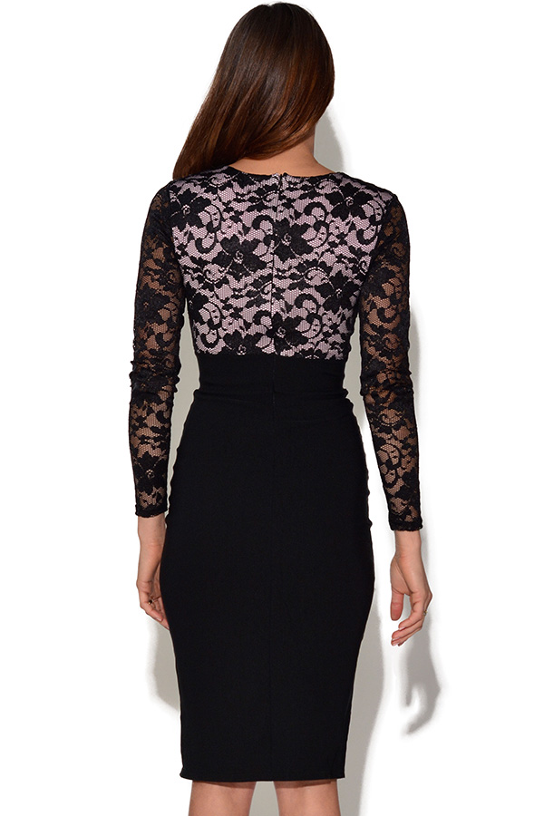 Long Sleeve Contrast Lace Dress