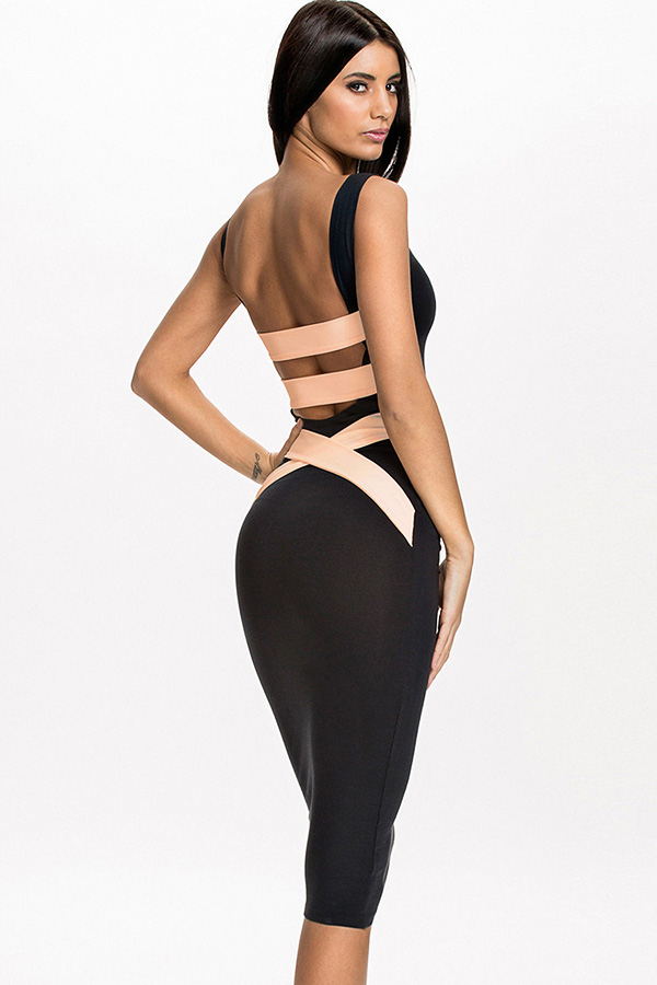 Quontum Plunge Back Midi Dress