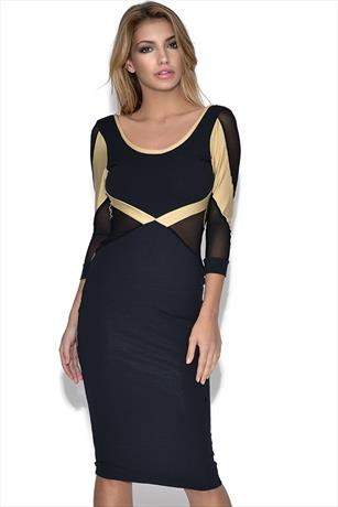 Quontum Long Sleeve Black Gold Mesh Dress