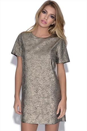 Gold Foil Shift Dress
