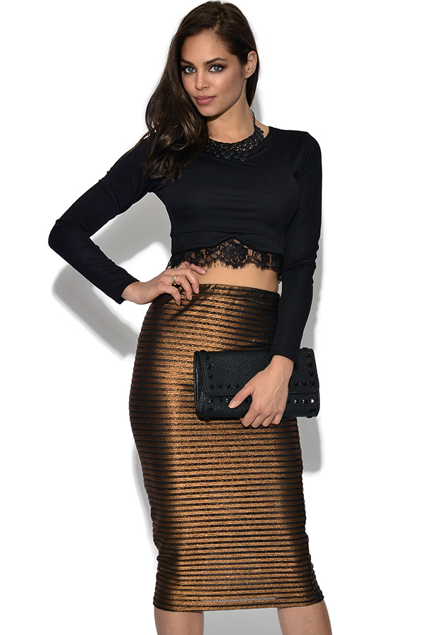 Girls On Film Gold Stripe Midi Skirt