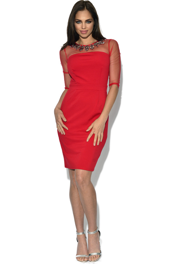 Little Mistress Red Mesh Embellished Neck Dress