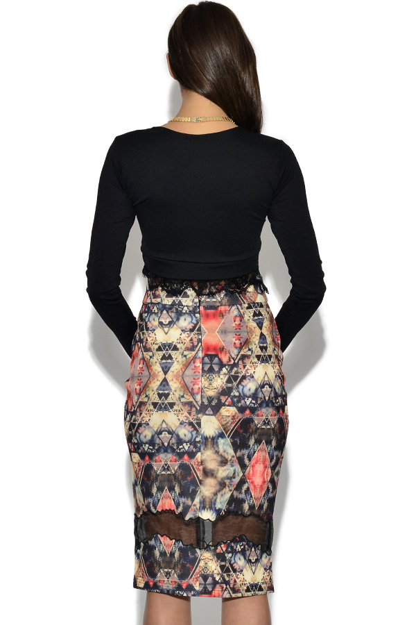 Girls On Film Jewel Print Mesh Skirt