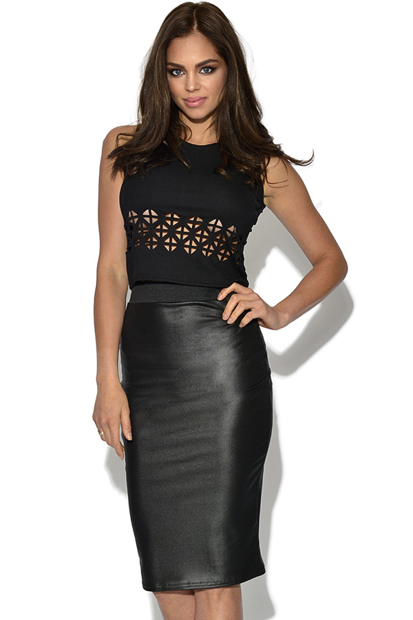 Leatherette Midi Skirt