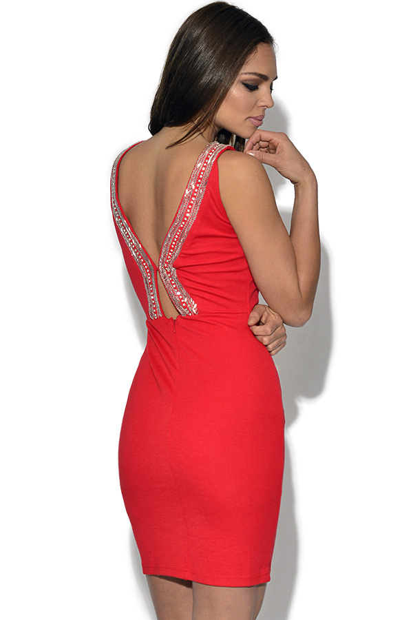 TFNC Embellished Red Bodycon Dress
