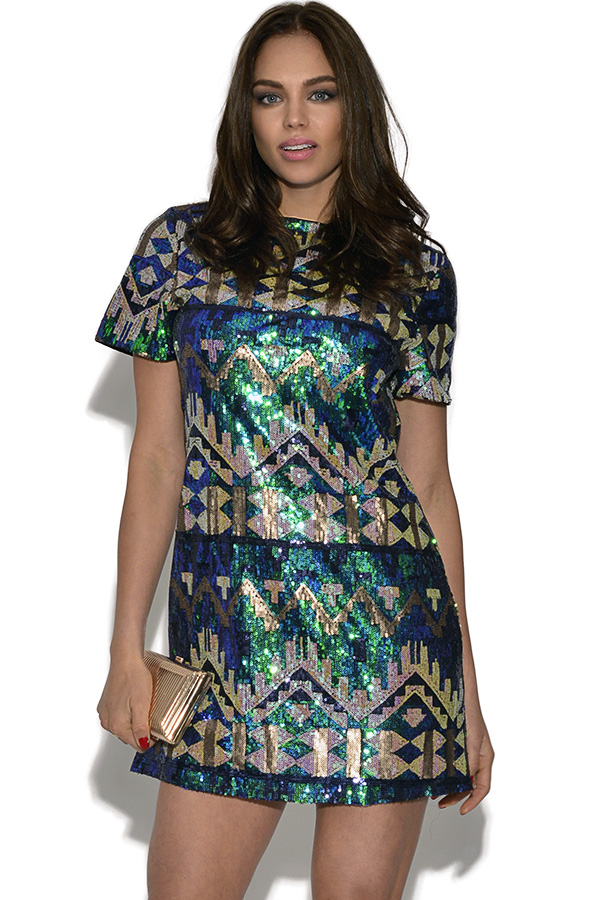 RARE Sequined Aztec Cut Out Shift Dress