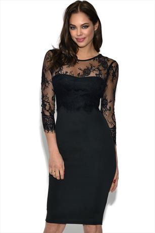 AX Paris Lace Sleeve Overlay Midi Dress