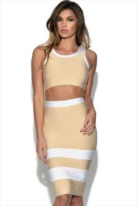 Nude Crop Top and Pencil Skirt 2 Piece Set