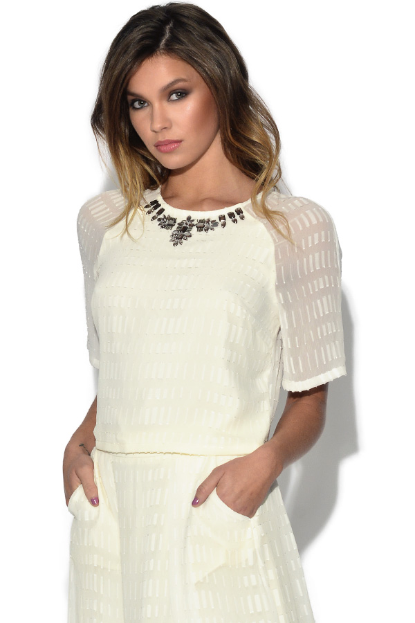Little Mistress White Embellished Neck Top
