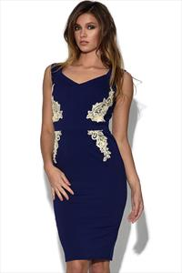Little Mistress Navy Bardot Floral Side Dress