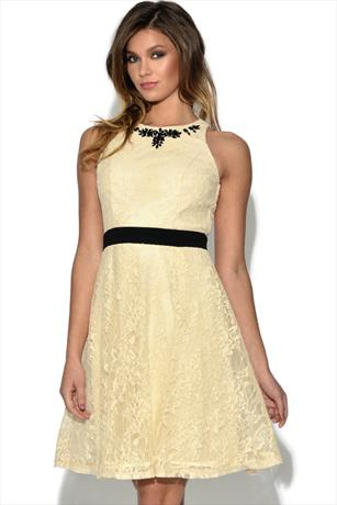 Little Mistress Lace Embellished Flare Dress
