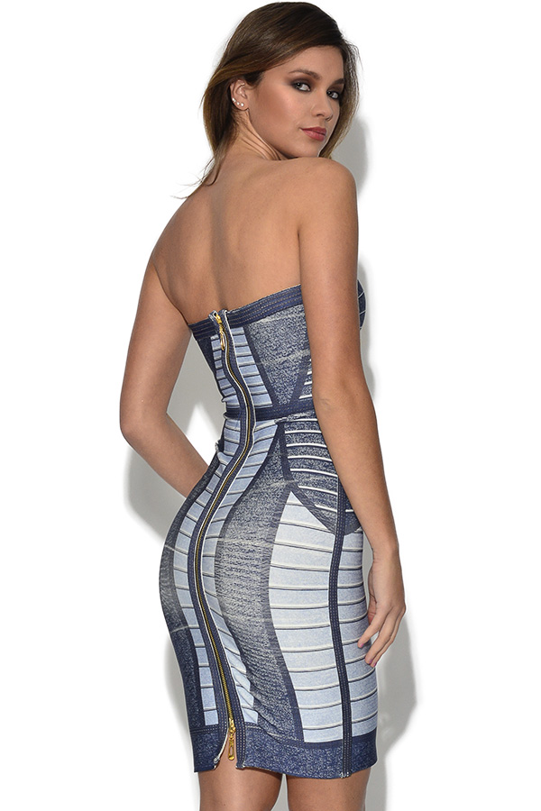 Denim Effect Bandeau Bandage Dress