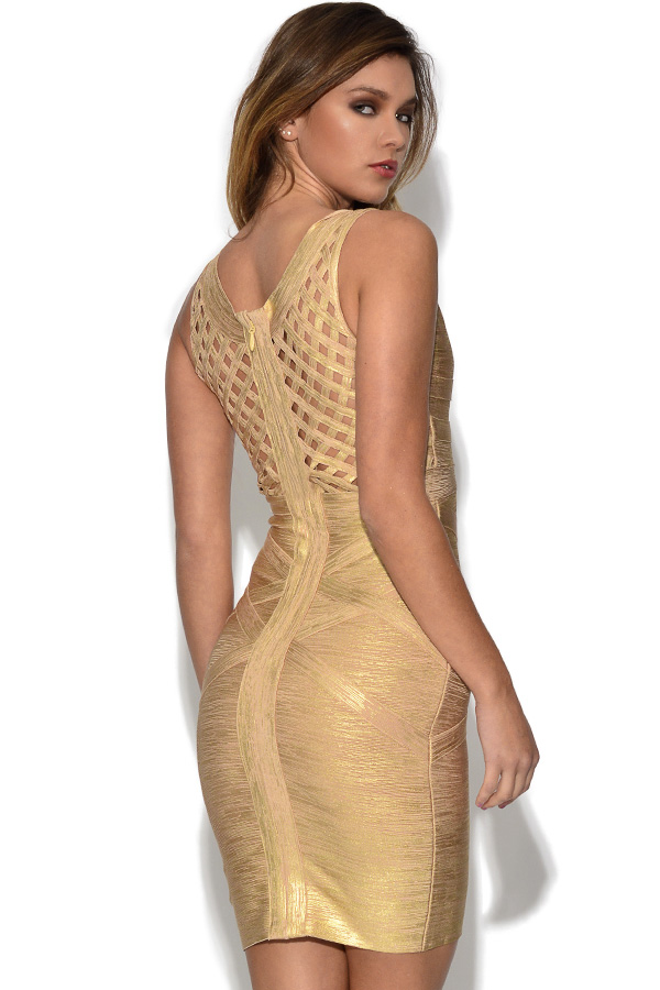 Luxe Gold Bandage Dress