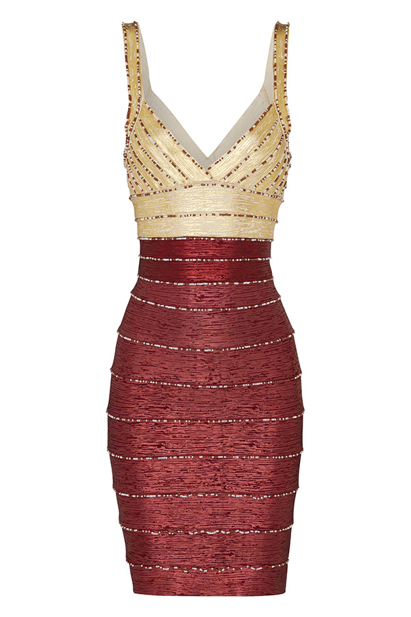 Colour Block Bronze Bandage Dress