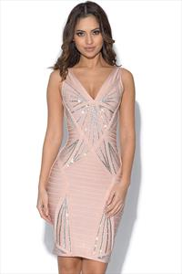 Nude Bandage Dress with Sequin Embellishment