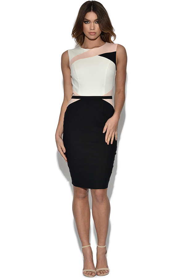 Paper Dolls Tri-Colour Sleeveless Panel Dress
