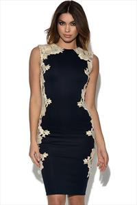 AX Paris Navy Lace Crochet Side Dress