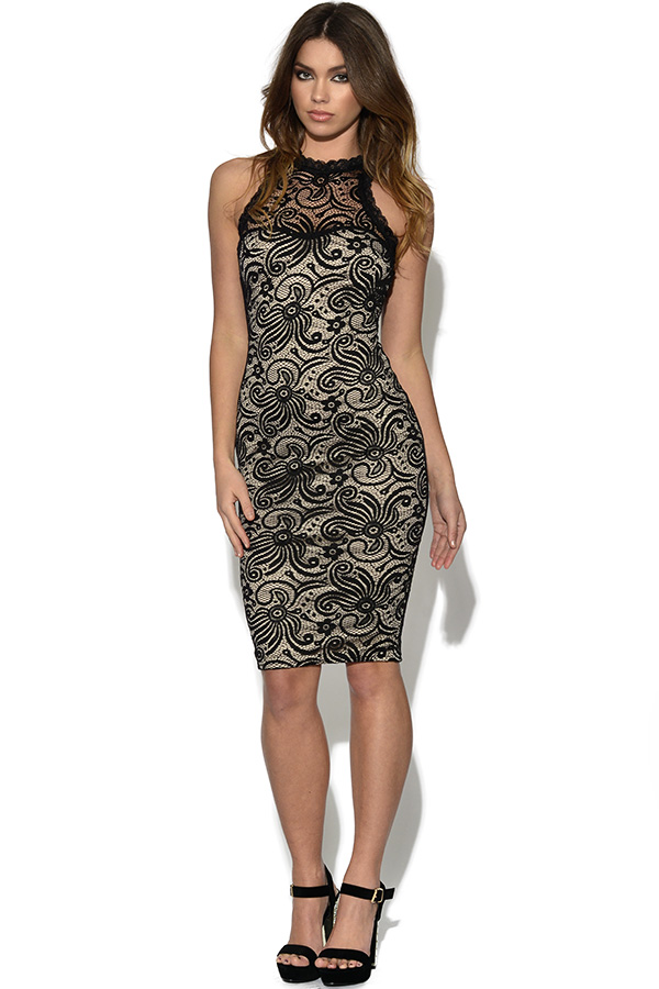 AX Paris Cut In Neck Contrast Lace Midi Dress