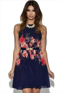 Little Mistress Navy Floral Belted Dress