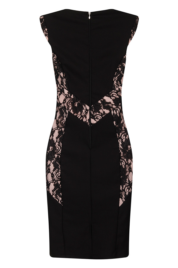 Paper Dolls Black and Lace Panel Dress