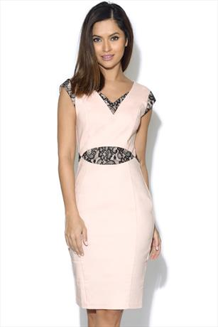 Paper Dolls Pink And Black Cut Out Lace Dress