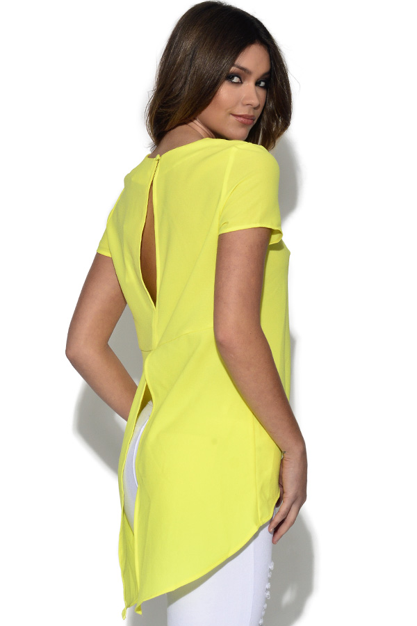 Yellow Dip Back Hem Split Blouse