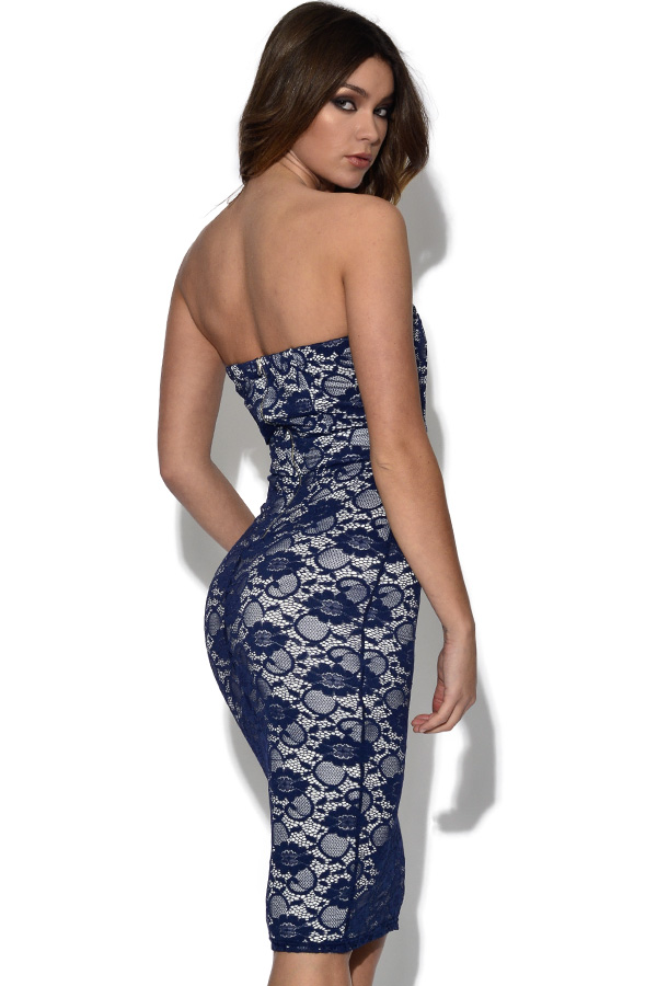TFNC Navy Lace Bandeau Dress