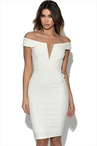 TFNC White Glitter Off The Shoulder Dress