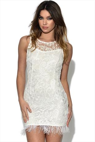 AX Paris Feather Hem Lace Dress