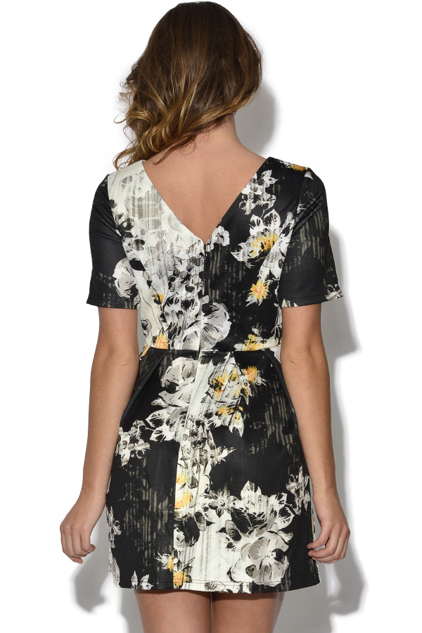 Girls On Film Floral V Back Dress