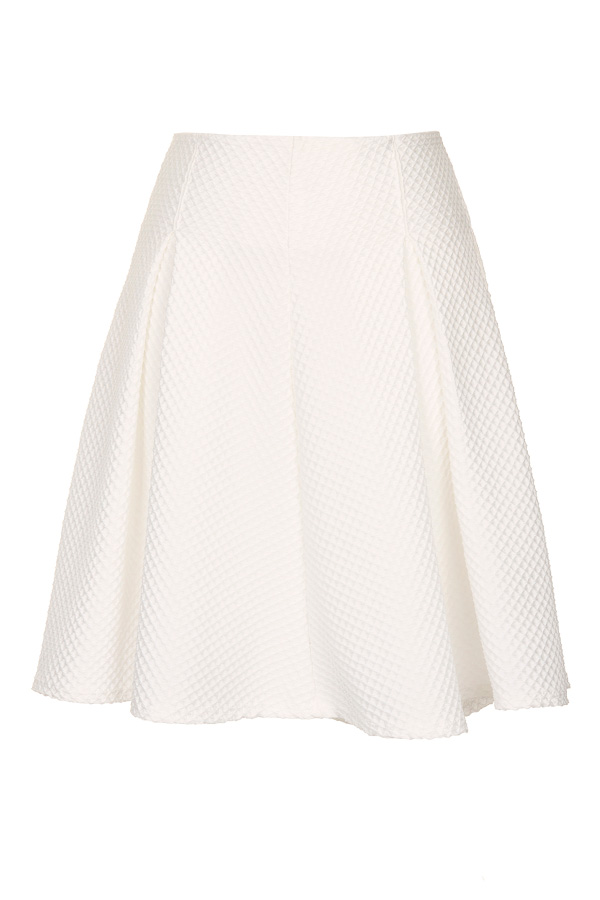Girls On Film White Textured Mini Skater Skirt