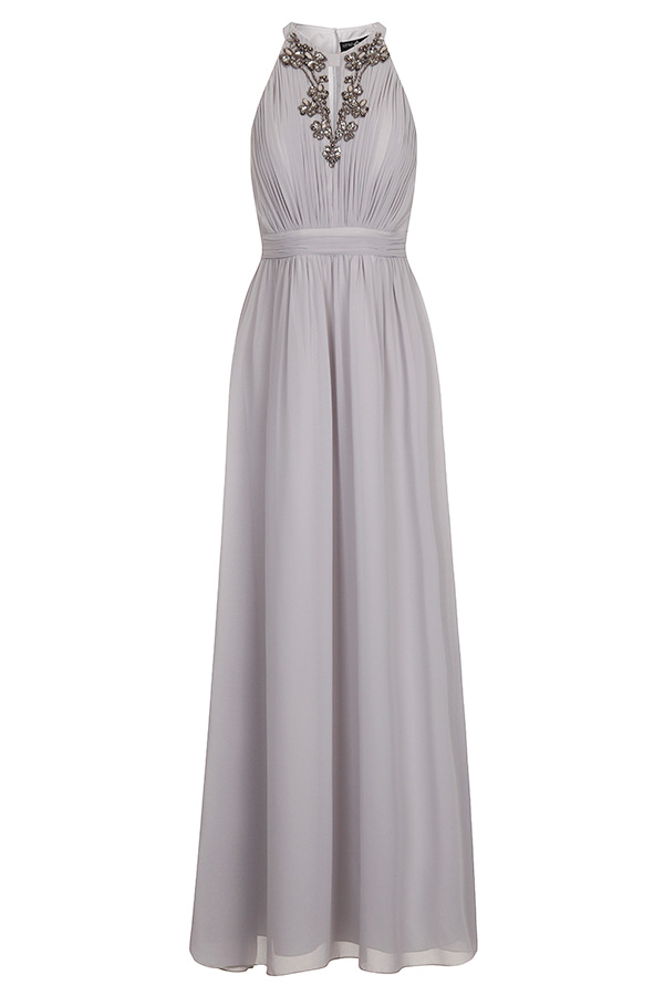 Little Mistress Chiffon Embellished Halter Maxi Dress
