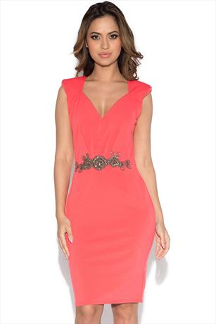 Little Mistress Embellished Waist V Neck Dress