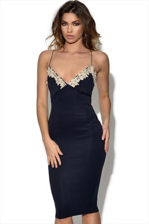 AX Paris Crochet Plunge Front Bodycon Dress