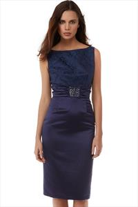 Embellished Satin and Lace Pencil Dress