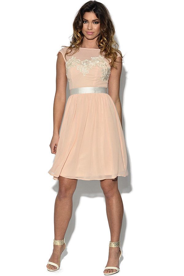 Lace Bust Nude Prom Dress