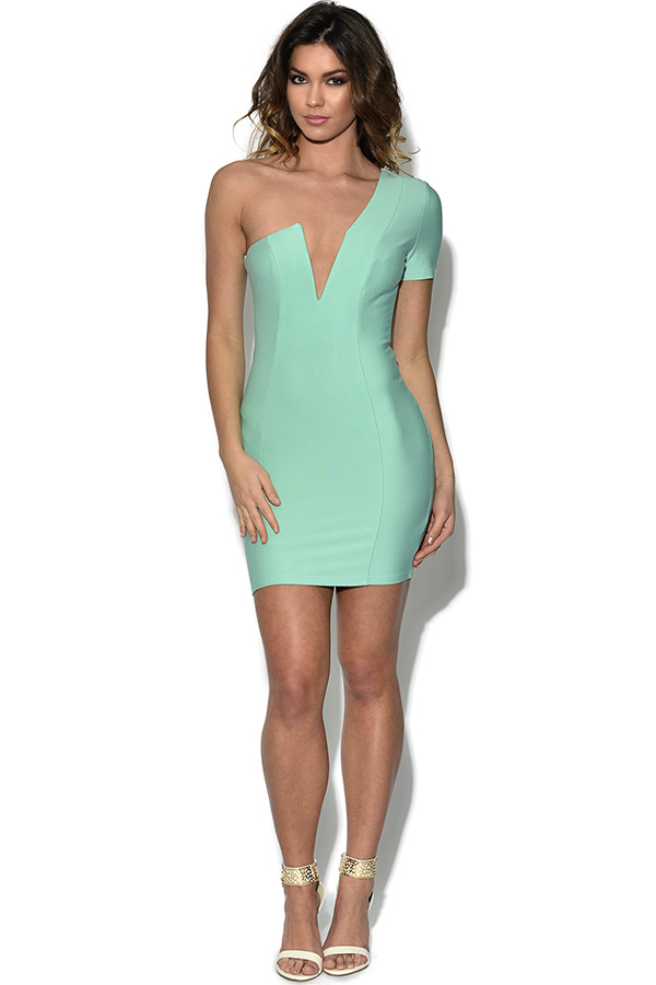 RARE Mint One Shoulder Plunge Bodycon Dress