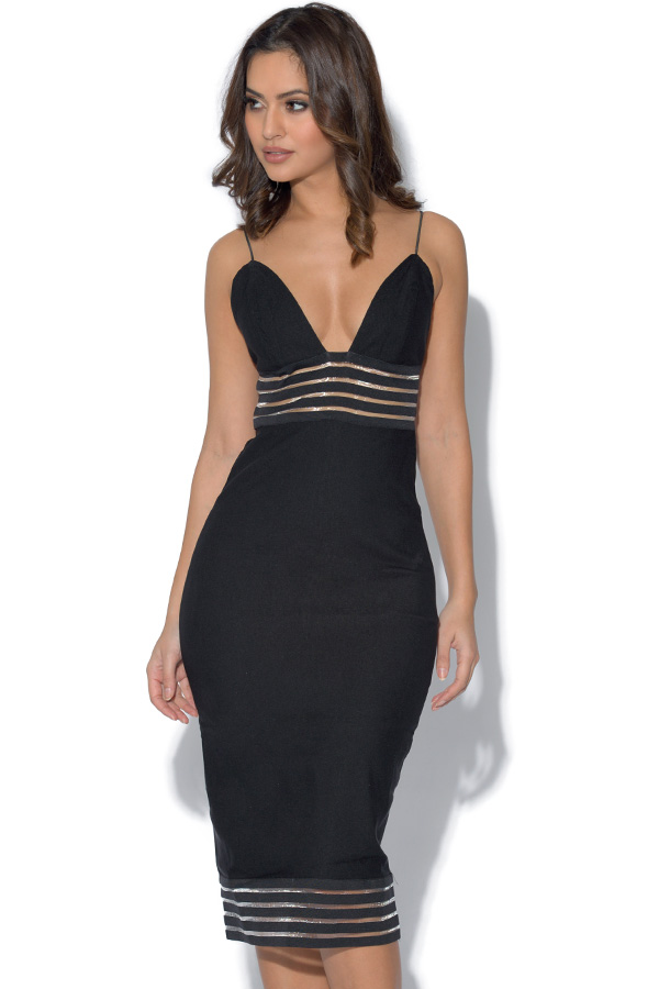 RARE Black Stripe Mesh Panel Dress