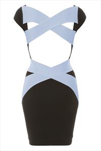 Quontum Open Back Pale Blue Wrap Strap Dress