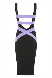 Quontum Plunge Back Midi Dress with Lilac Straps