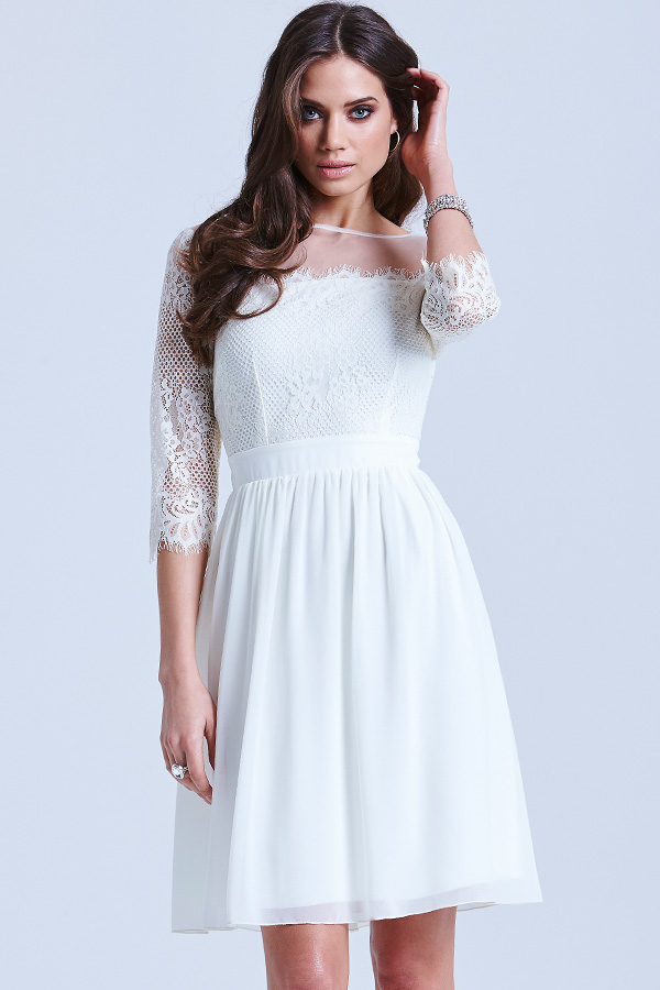 Little Mistress Cream Lace Pleat Dress