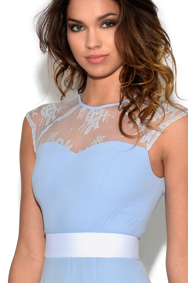 Lace Embellished Pastel Blue Skater Dress