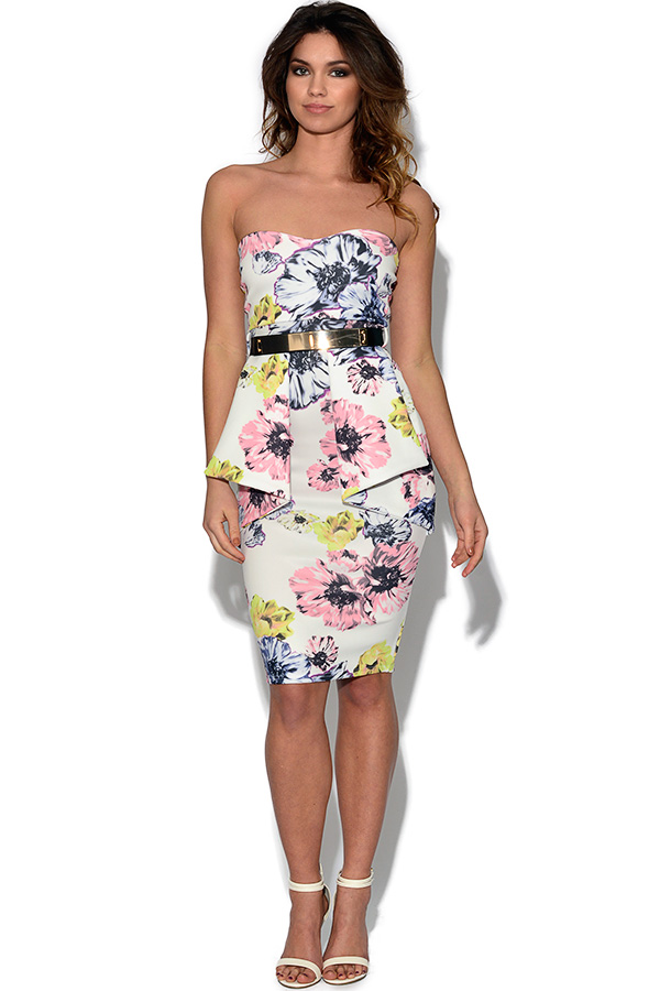 Strapless Floral Peplum Dress