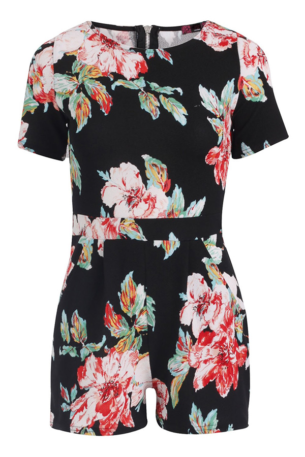 Floral Crepe Playsuit with Pockets