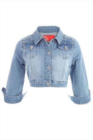 Stone Wash Cropped Denim Jacket