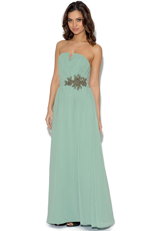 Little Mistress Floral Embellished Bandeau Maxi Dress