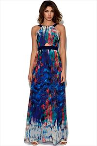 Little Mistress Print Belted Chiffon Maxi Dress